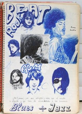 Mi portadita del cuaderno de apuntes de Filosofía en el Instituto del Burgo de Osma del año 1974.. Entonces dibujaba mejor que ahora.