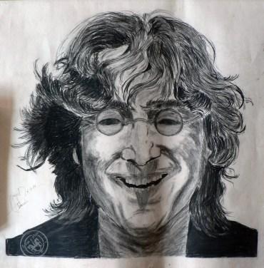 Dibujo de John Lennor a carboncillo - Año 1977
