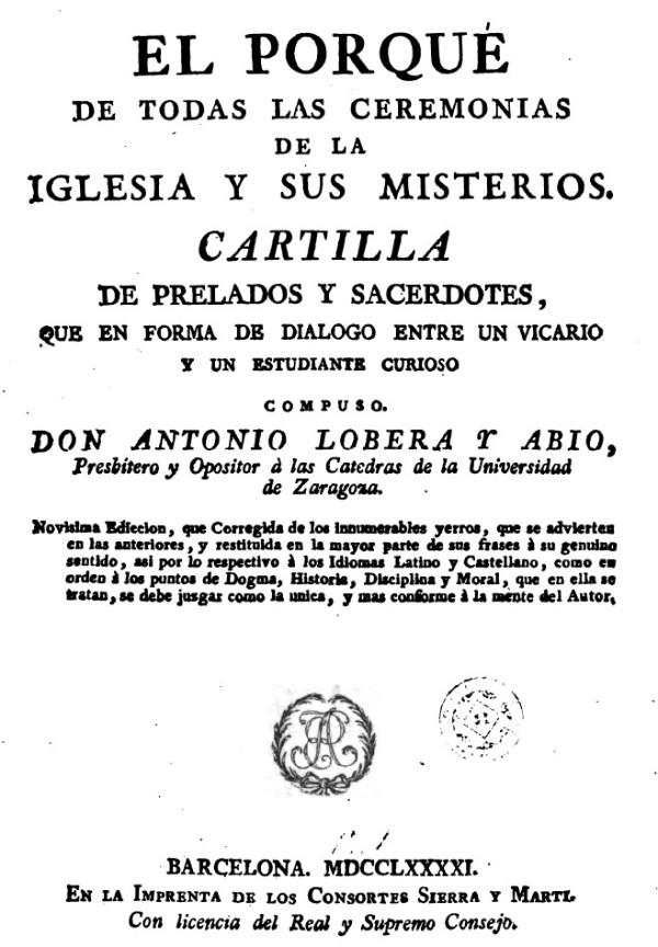 Simbolismo de los ritos cristianos por Antonio Lobera