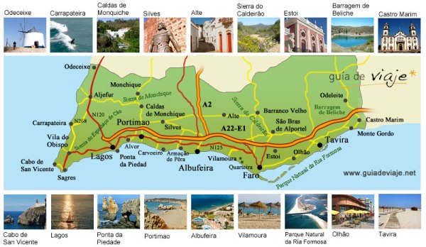 Algarve mapa y fotos