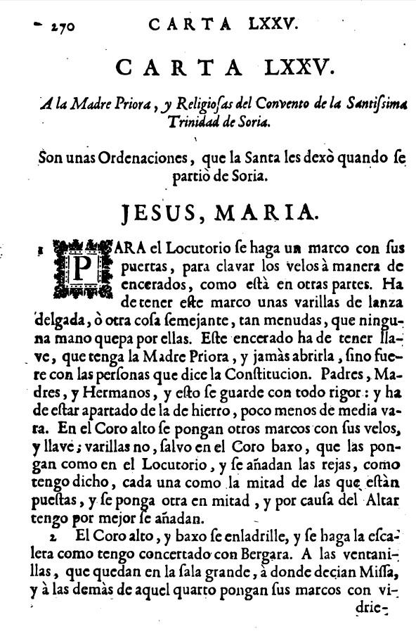 Carta de Santa Teresa de Jesus a carmelitas de Soria 1