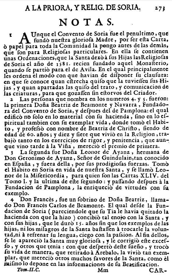 Datos del COnvento carmelita de SOria ciudad