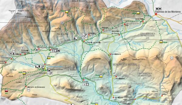 Mapa de la zona del Ojo de Guareña (JCyL)