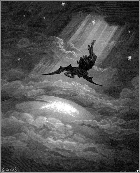 """La caída de Lucifer, recreada por Gustave Doré para """"El paraíso perdido"""" de John Milton."""