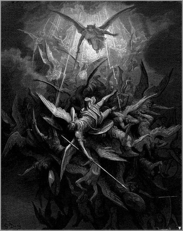 """Derrota de Lucifer y sus huestes angelicales por las de San Miguel, según Gustave Doré en la ilustración para """"El paraíso perdido"""" de Milton."""