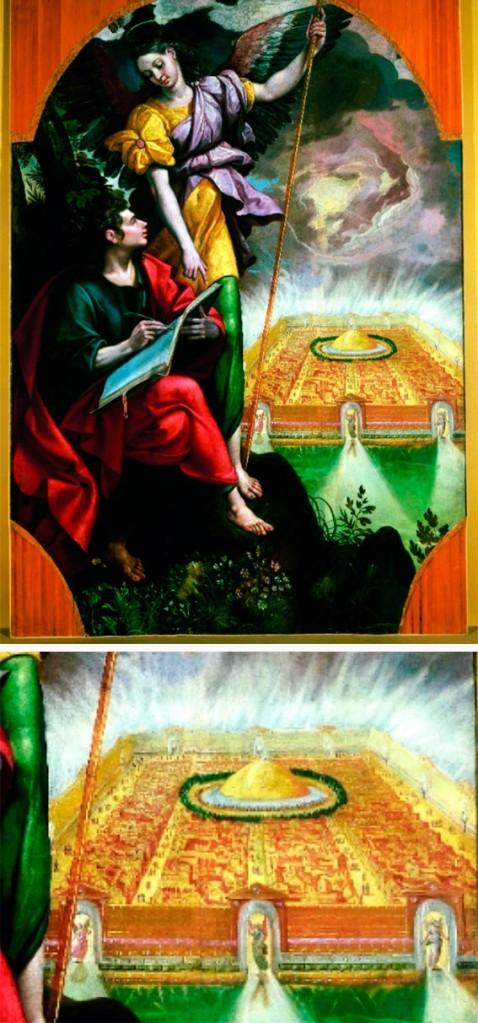 Juan de Patmos escribiendo el Apocalipsis con la Jerusalén Celeste al fondo