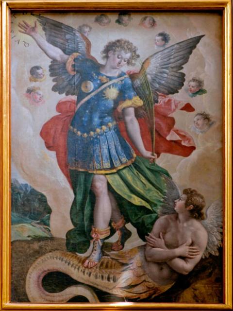 San Miguel y Lucifer, lienzo de Martín de Vos fechado en 1581 y que se encuentra en la catedral de Cuautitlán. Fotografía tomada por el equipo interdisciplinar de http://bitacoradehistoriasdepincel.blogspot.mx. El cuadro de La Cuesta de Soria es muy similar