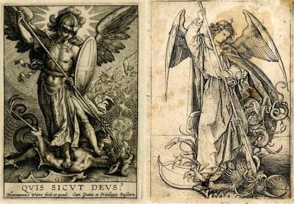 Dos grabados renacentistas de San Miguel combatiendo a la Serpiente-Dragón Luciférica Satánica