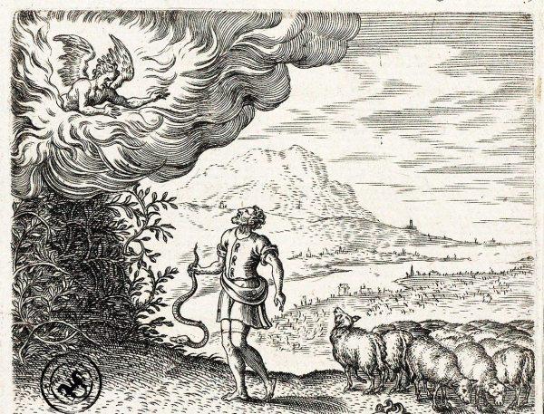 Pasaje de la Zarza Ardiente en Humanae Salutatis Monumenta, de Arias Montano. Bruyn es el grabador y el creador de la imagen Pieter van de Borcht. Año 1571