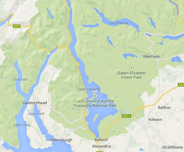 Lagos Lomon y Katrine mapa
