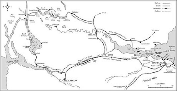 Viaje-de-Verne-por-Escocia,-mapa