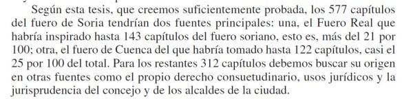 Fuentes del Fuero de Soria segun Gonzalo Martinez Diez
